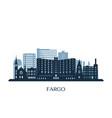 fargo skyline monochrome silhouette vector image vector image