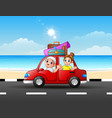 father and daughter traveling in a car vector image vector image
