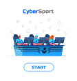 flat cybersport team playing online game vector image