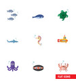 flat icon marine set of tentacle tortoise vector image vector image