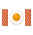 Fried Egg and Slices of Bacon vector image