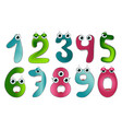funny cute monster numbers colorful vector image vector image