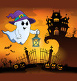 ghost with hat and lantern topic 1 vector image vector image