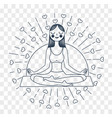 girl yoga linear style silhouette vector image vector image