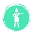 green circle logo with businesswoman wearing vector image vector image