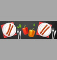 grill plate realistic meat and veggies menu vector image vector image