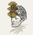 hand drawn flat antique head apollo vector image