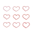 Hand-drawn red heart shapes set vector image vector image