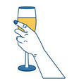 hand with champagne cup vector image
