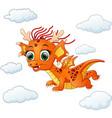 happy dragon cartoon flying vector image vector image