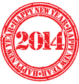 Happy new 2014 year gunge stamp vector image vector image
