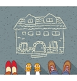 Homeless family dreaming about own home mortgage vector image