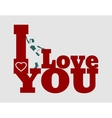 I love you text and woman silhouette vector image vector image