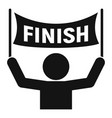 man finish banner icon simple style vector image vector image