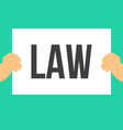 man showing paper law text vector image