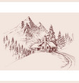 mountain refuge hut winter alpine landscape hand vector image