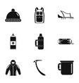mountaineer icons set simple style vector image