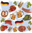 oktoberfest bavaria pattern beer hops food vector image