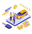 online sale insurance rental sharing car isometric vector image vector image