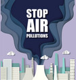 paper cut craft style smoke from air polluting vector image