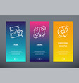 plan timing statistical analysis vertical cards vector image