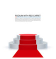 podium with red carpet red stairs background vector image vector image