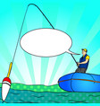 pop art angling person with rod in a boat on calm vector image