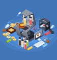printing isometric concept vector image vector image