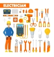 Profession Electrician Icons Set with Voltmeter vector image