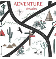 Roads mountains and cacti adventure seamless