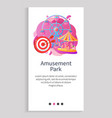 round attraction with horses or cabins app vector image