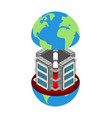 server in earth data center planet internet vector image vector image