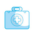 silhouette briefcase with medical symbol and fist vector image vector image