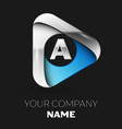 silver letter a logo in silver-blue triangle shape vector image vector image