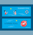 summer pool posters swimming vector image vector image