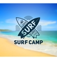 surf camp logo template on blurred sunny beach vector image vector image