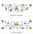 Thin Line Graphic Design and Social Media Concepts vector image vector image