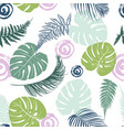tropical floral leaves pattern vector image