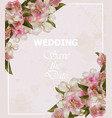 wedding frame card with cherry flowers vector image