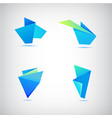 set of abstract blue origami 3d logos vector image