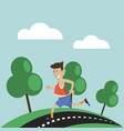 man has jogging outdoors vector image
