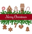 Merry christmas card with gingerbread figures vector image