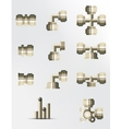 A set of brass and copper fittings vector image