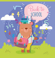back to school cute bear with bag books education