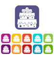 big cake icons set flat vector image vector image