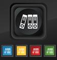 binders icon symbol Set of five colorful stylish vector image