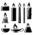 black and white silhouette burning candles vector image vector image
