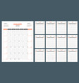 calendar planner for 2018 year week starts on vector image vector image