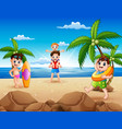 cartoon of happy family playing on the beach vector image