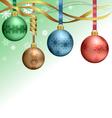 Christmas balls hanging on ribbons